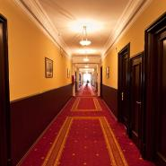 hotel hallway with a red carpet and brown doors